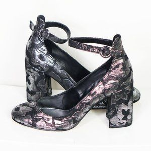 Marc Fisher Metallic Floral Mary Jane Pumps 8.5